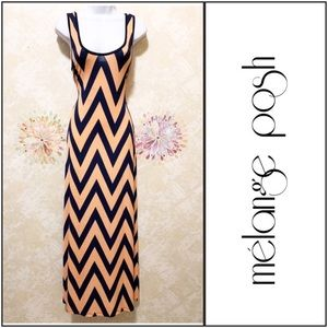 Peach & Blue Chevron Maxi Racer Back Maxi Dress